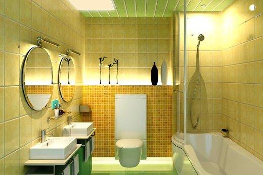 Первый вариант организация пространства ванной комнаты при помощи отделки