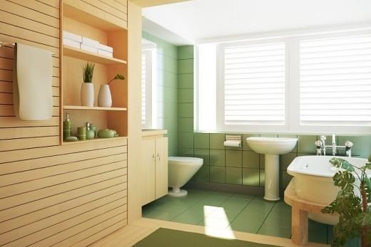 Второй вариант организация пространства ванной комнаты при помощи отделки
