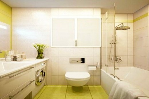 Первый вариант зонирования ванной комнаты по интерьеру