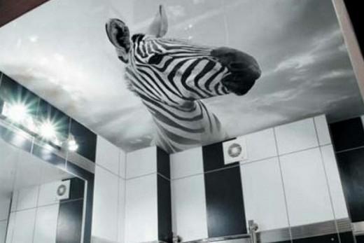Натяжной потолок с фотопечатью в ванной комнате