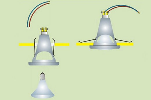 Дополнительные крепления светильникам не обязательны: они прекрасно держатся и на своих усиках