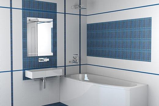 Белая и голубая плитка в ванной комнате