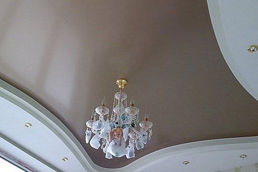 Многоуровневый сатиновый натяжной потолок
