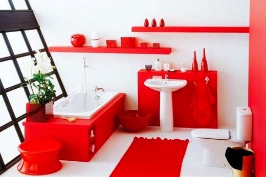 Первая идея зонирования ванной комнаты с помощью цвета