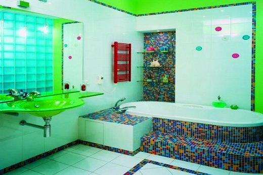 Третья идея зонирования ванной комнаты с помощью цвета