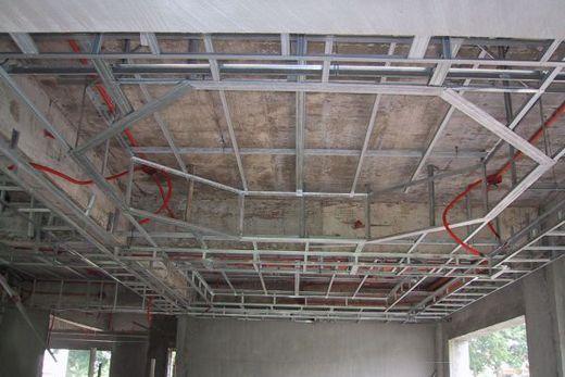 Каркас многоуровневого гипсокартонного потолка
