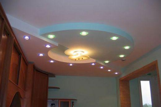 Подвесной гипсокартонный потолок с криволинейной боковой поверхностью и овальной нишей