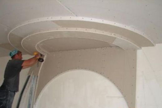 Установка каркаса потолка из гипсокартона