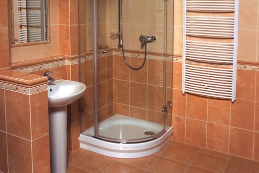 Душевой уголок с поддоном в интерьере ванной комнаты