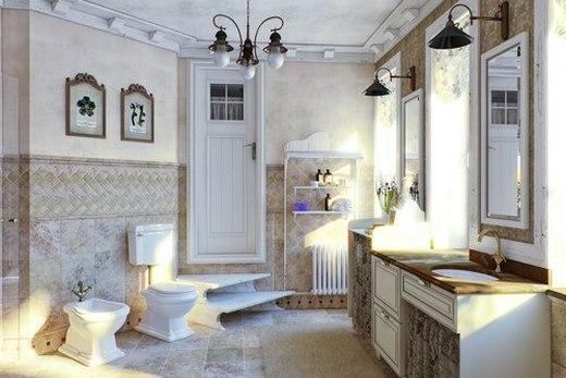 Освещение в ванной в стиле Прованс фото