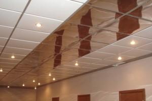 Кассетный потолок со светильниками в ванной