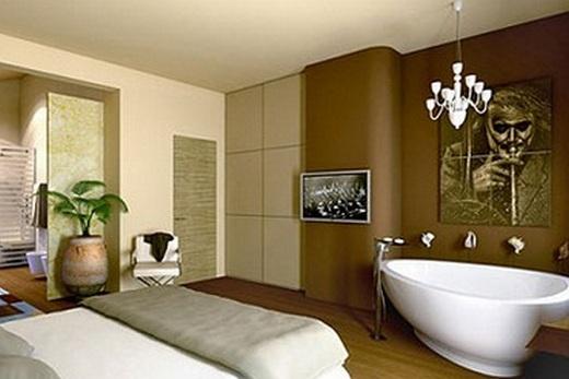 Ванна, установленная в ходе ремонта в спальне