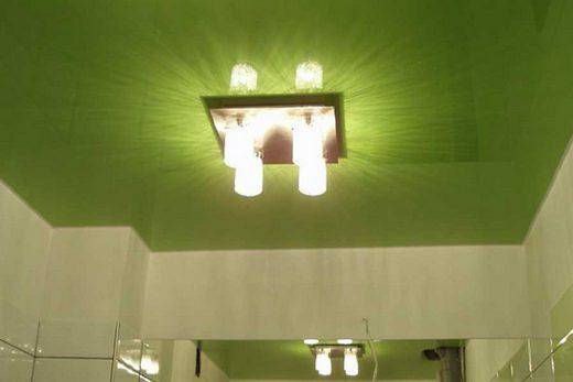 Красивый потолок, выдержанный в вегетативном стиле, в ванной комнате