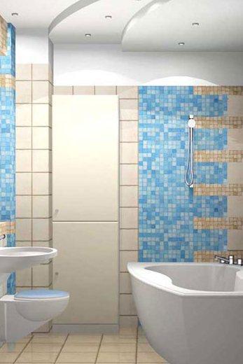 Оформление ванной комнаты: мозаикой выложены зоны возле ванны и раковины