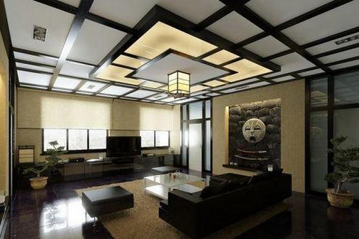 Двухуровневый натяжной потолок в японском стиле