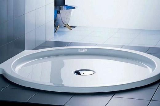 Эмалированный душевой поддон из стали: мелкий и круглый