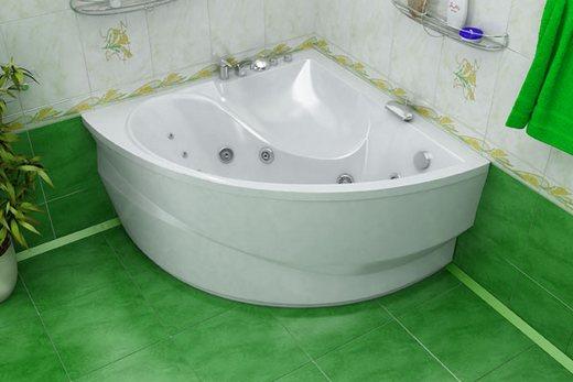 Типичная угловая акриловая ванна
