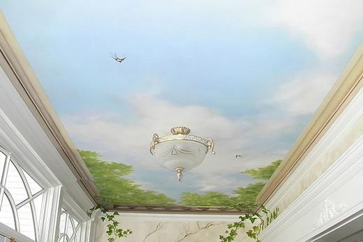 Лоджия с тканевым натяжным потолком