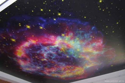 Натяжной потолок «Звёздное небо» в спальне