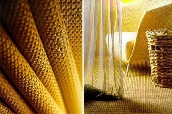 Рулоны полотна из сизаля укладываются на пол почти как ковролин