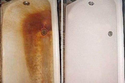 Ржавчина на эмалированной ванне отмывается