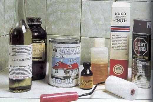 Комплект инструментов и материалов для эмалирования ванны