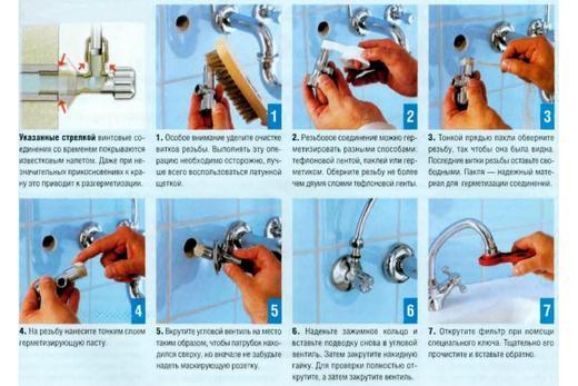 Подключение встроенного смесителя к воде