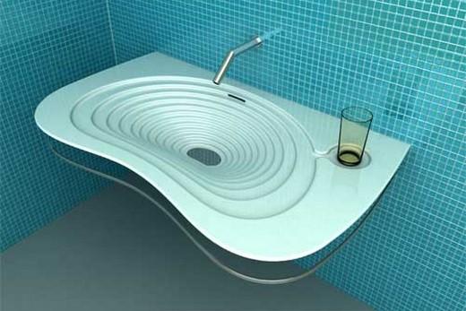 Металлическая накладная раковина в стиле хай-тек, фото