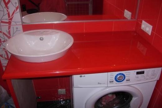 Накладная раковина в комбинации со стиральной машиной, фото