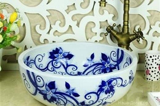 Расписная керамическая раковина, фото