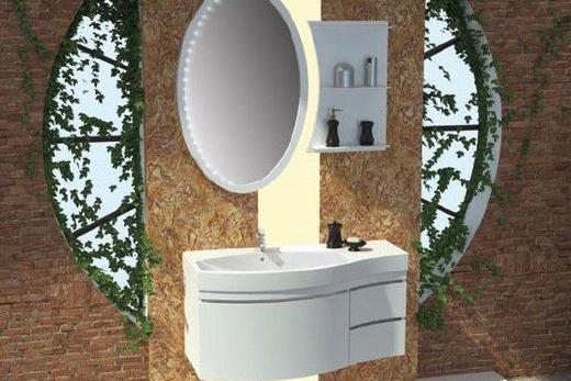 Асиметричная раковина в интерьере ванной комнаты, фото