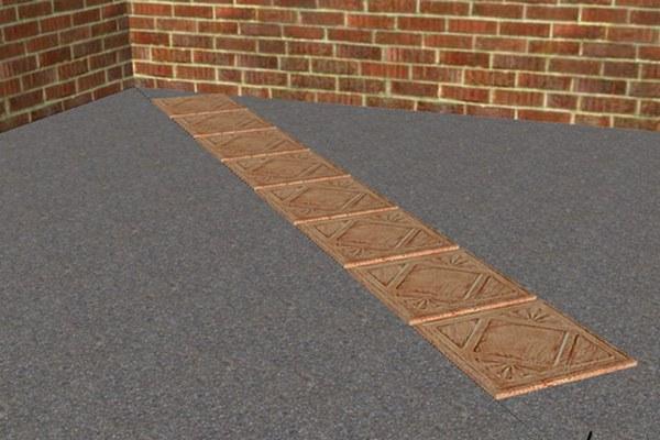 Начальный этап укладки плитки по диагонали: выставлен маяк, видна нить, вдоль которой выкладывается плиточный ряд