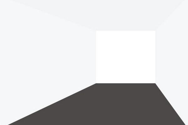 Коричневый пол в интерьере помещения с белыми стенами