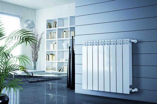 Интерьер комнаты с радиатором марки Rifar Base