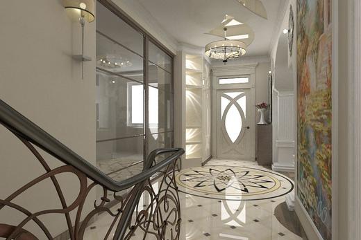 Интерьер коридора с прихожей в частном доме 167