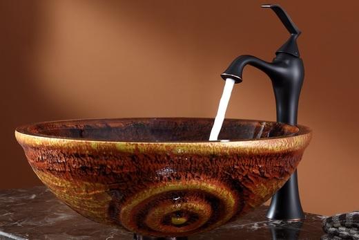 Стеклянная раковина в старинном стиле, фото