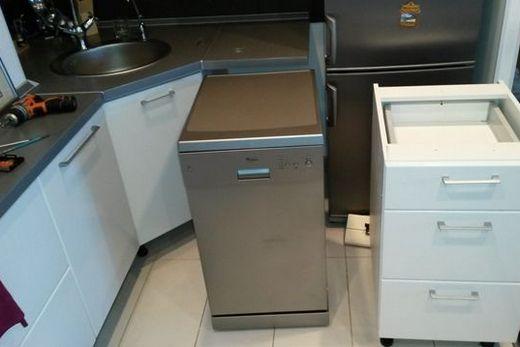 Отдельно стоящая посудомоечная машина Zanussi в интерьере кухни