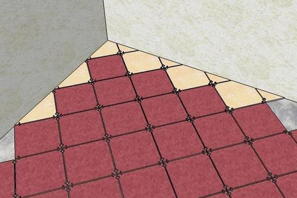 Укладка плитки вдоль произвольной линии