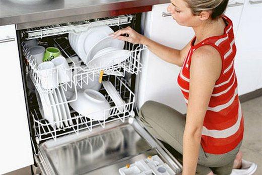 Размещение посуды в полноразмерной посудомоечной машине, фото