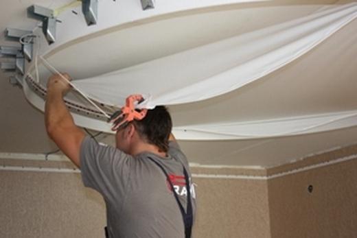 Подвеска двухуровневого натяжного потолка