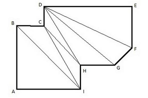 Расстояние между углами надо мерить также, как и длину стен