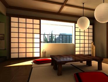 Дизайн пола в интерьере гостиной в японском стиле