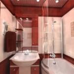 Интерьер малогабаритной ванной комнаты с душевой кабиной