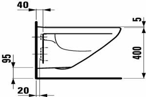 Схематичное расположение чаши унитаза подвесного