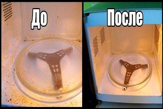 До и после очистки микроволновой печи от жира
