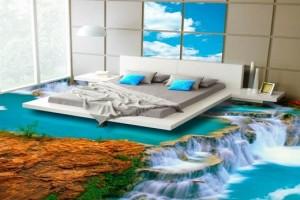 С наливным 3D полом выполнен уникальный дизайн спальни