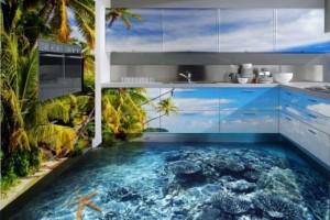 Кухня с декоративным 3D-наливным полом