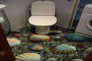 Туалет с эксклюзивным наливным полом морской тематики