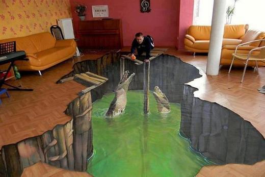 Наливной пол с крокодилами