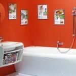 Облицовка ванной в красных тонах